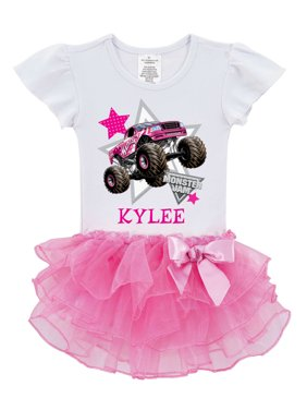 Personalized Monster Jam Pink Tutu Toddler Girls' T-Shirt - Look Out Boys Madusa