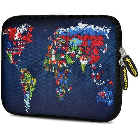 10.2 Inch Netbook Sleeve Case - Universal 10.5 Inch Soft Neoprene Designer Sleeve Case Pouch for 10.5 Inch Tablet, eBook, Netbook - Worldwide Map