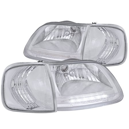 Spec-D Tuning For 1997-2003 Ford F150 Expedition Crystal Chrome Led Headlights + Clear Corner Lamps (Left+Right) 1997 1998 1999 2000 2001 2002 2003
