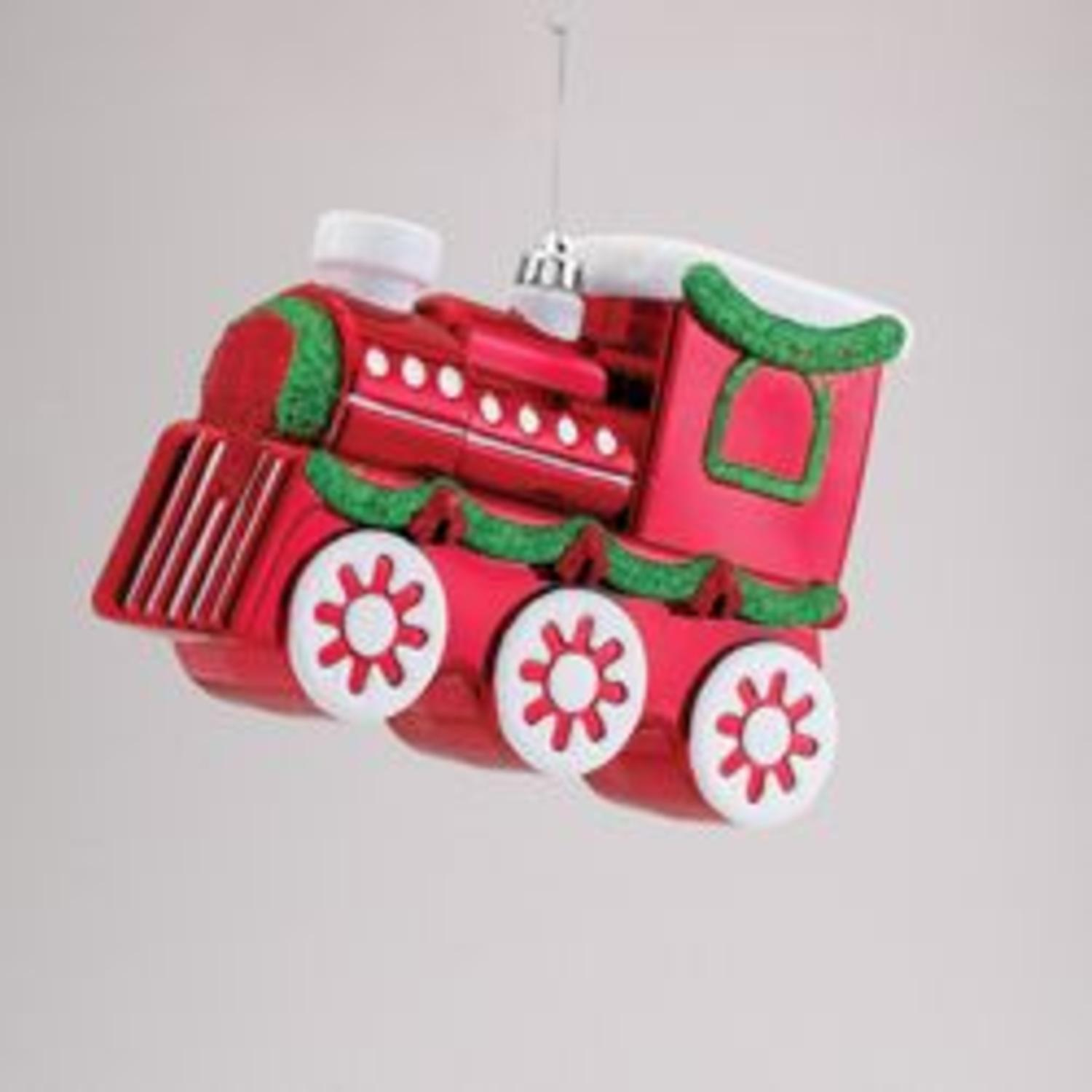 9 red and green glitter embellished express train christmas ornament