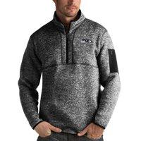 Seattle Seahawks Antigua Fortune Quarter-Zip Pullover Jacket - Heather Black