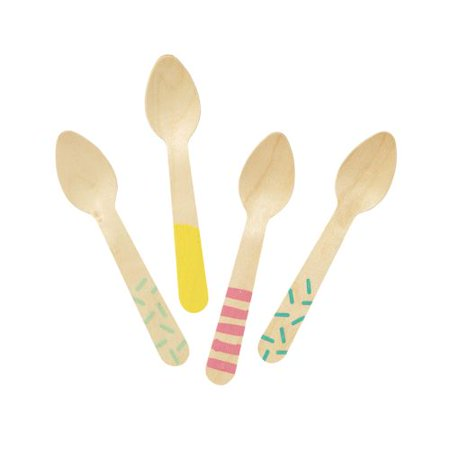 Talking Tables We Heart Ice Cream Small Wooden Spoons, 24ct
