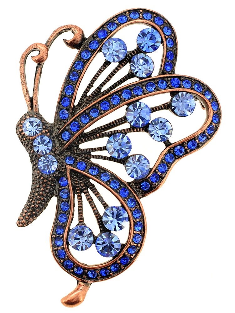 Vintage Style Blue Flying Butterfly Sapphire Crystal Pin Brooch and Pendant by