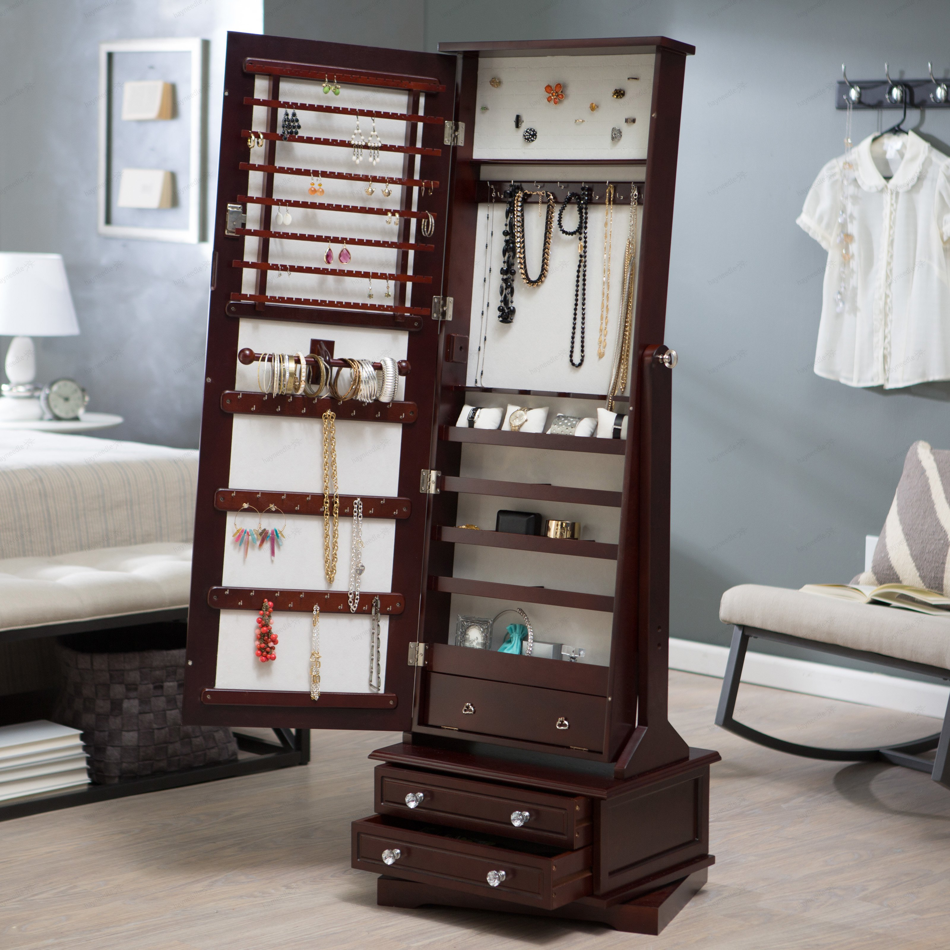 Belham Living Swivel Cheval Mirror Jewelry Armoire