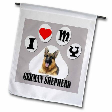 3dRose I love my German Shepherd. The smartest dog. Best friend. - Garden Flag, 12 by