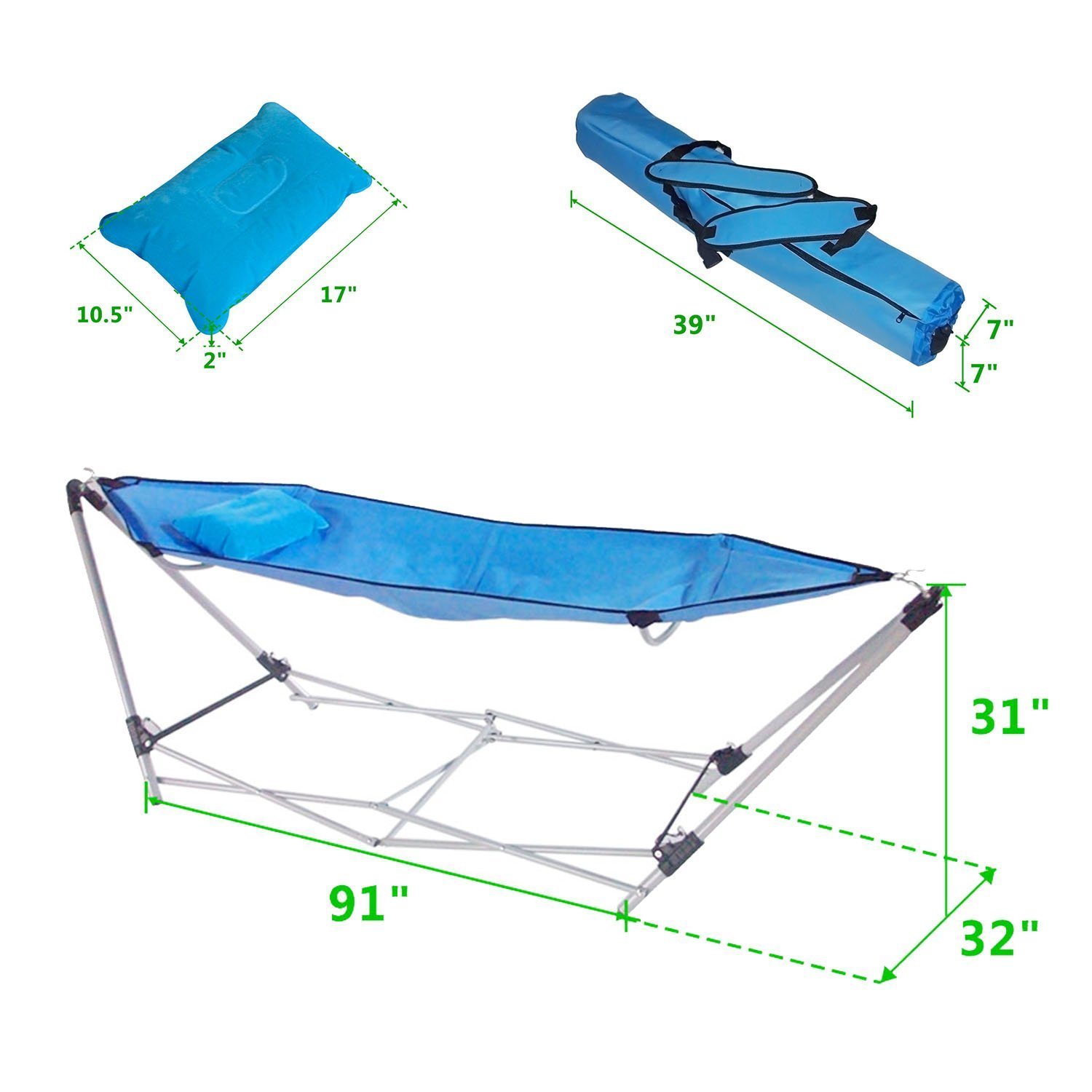 MAX capacity 250 LBS Portable Folding FORDABLE OUTDOOR Camping Hammock Lounge Bed cot with Stand Christmas gift
