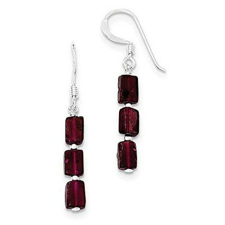 925 Sterling Silver 37 Mm Three Stone Garnet Dangle Earrings