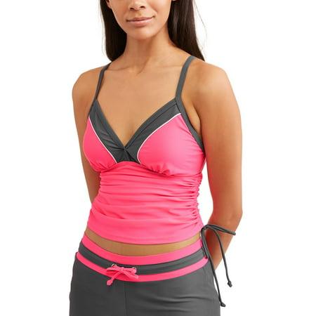 Shirred Tankini Top - Women's Sporty Swim Colorblock Tankini Top With Adjustable Side Ties