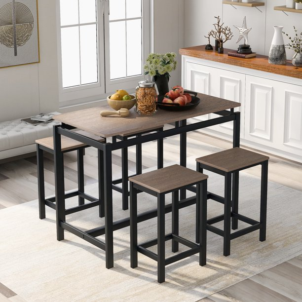 Dining Set With Counter Height Table And 4 Chairs 5 Piece Kitchen Dining Table Set With