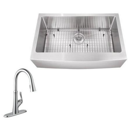 Schon sc2067550 single basin farmhouse kitchen sink set - Walmart kitchen sinks ...
