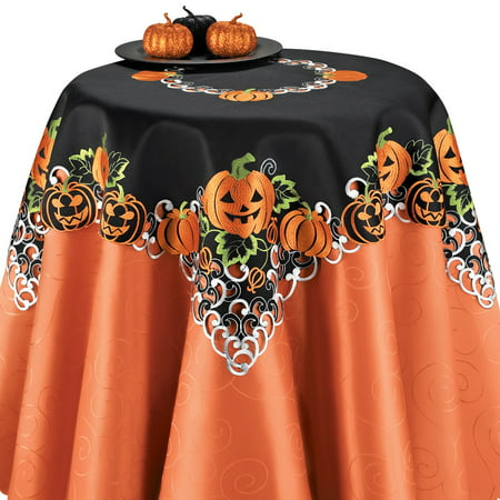 Halloween Pumpkins Table Runner / Topper Linens, Embroidered Festive Party Indoor Decorations, Square (Halloween Food Table Ideas)