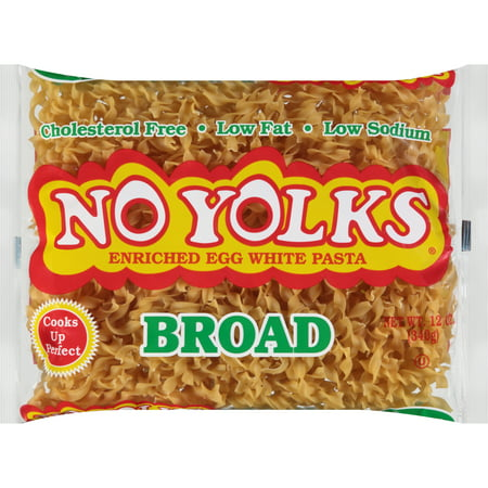 (4 pack) No Yolks Enriched Egg White Pasta Broad, 12.0 OZ