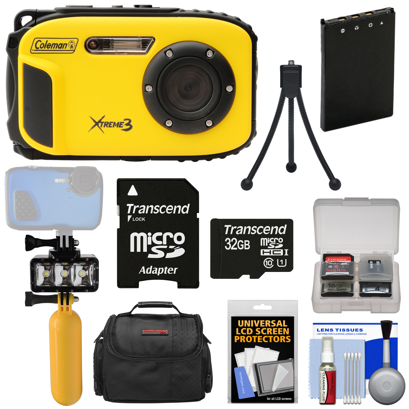 Coleman Xtreme3 C9WP Shock & Waterproof 1080p HD Digital Camera (Yellow) with 32GB Card + Battery + Diving LED Video... by Coleman