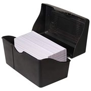 Advantus Stackable Flip Top 3 x 5 Index Card Holder 300 Card Capacity Box Black 35 H x 55 L x 3 W Inches 45001