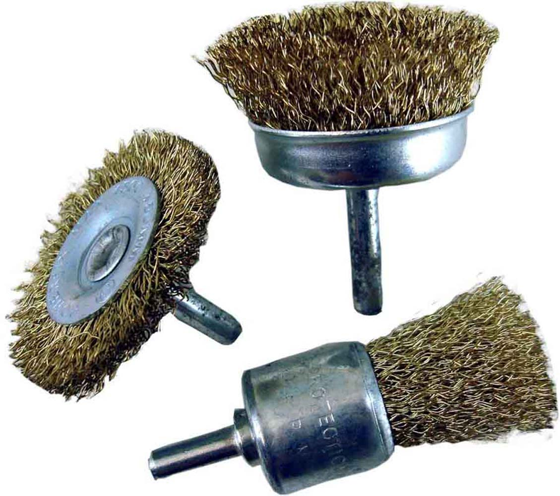 """Click here to buy Brass Wire Brush Trio 1 4"""" Shank for Power Drill by ToolUSA."""