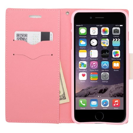 Insten Flip Wallet Leather Case with Card Slot & Lanyard For iPhone 6s Plus / 6 Plus - White/Pink - image 2 de 3