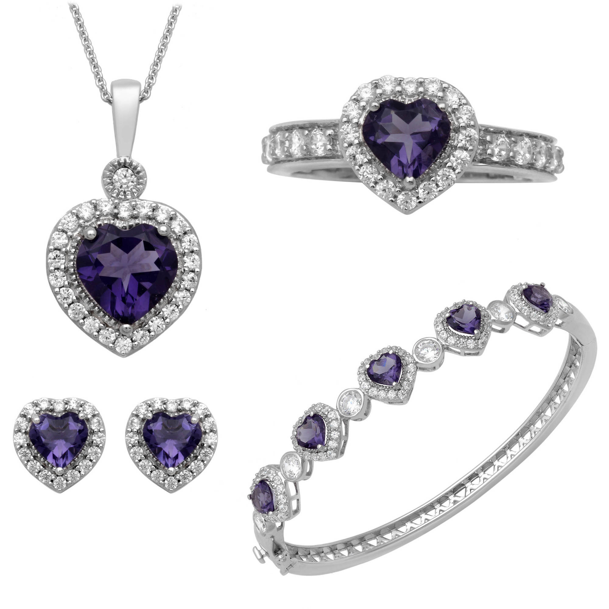 Heart Amethyst and Round Clear Cubic Zirconia Heart Ring, Pendant, Earrings and Bracelet Set in Brass by Generic