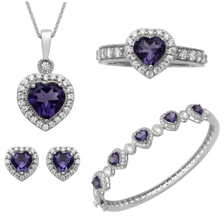 Heart Amethyst and Round Clear CZ Heart Ring, Pendant, Earrings and Bracelet Set in Brass