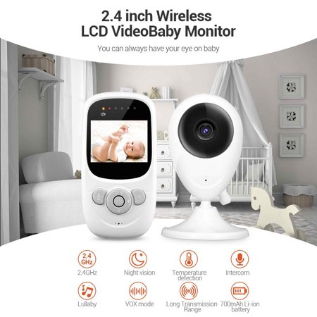 Barbala Wireless Video Baby Monitor with 2.4 inch LCD Color Screen,Digital Camera,Temperature Monitoring, Lullaby,Infrared Night Vision, Two-Way Talk, Long Range and High Capacity Battery - image 2 of 7