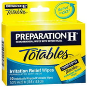 Preparation H Totables Irritation Relief Wipes 10 Each (Pack of 6)