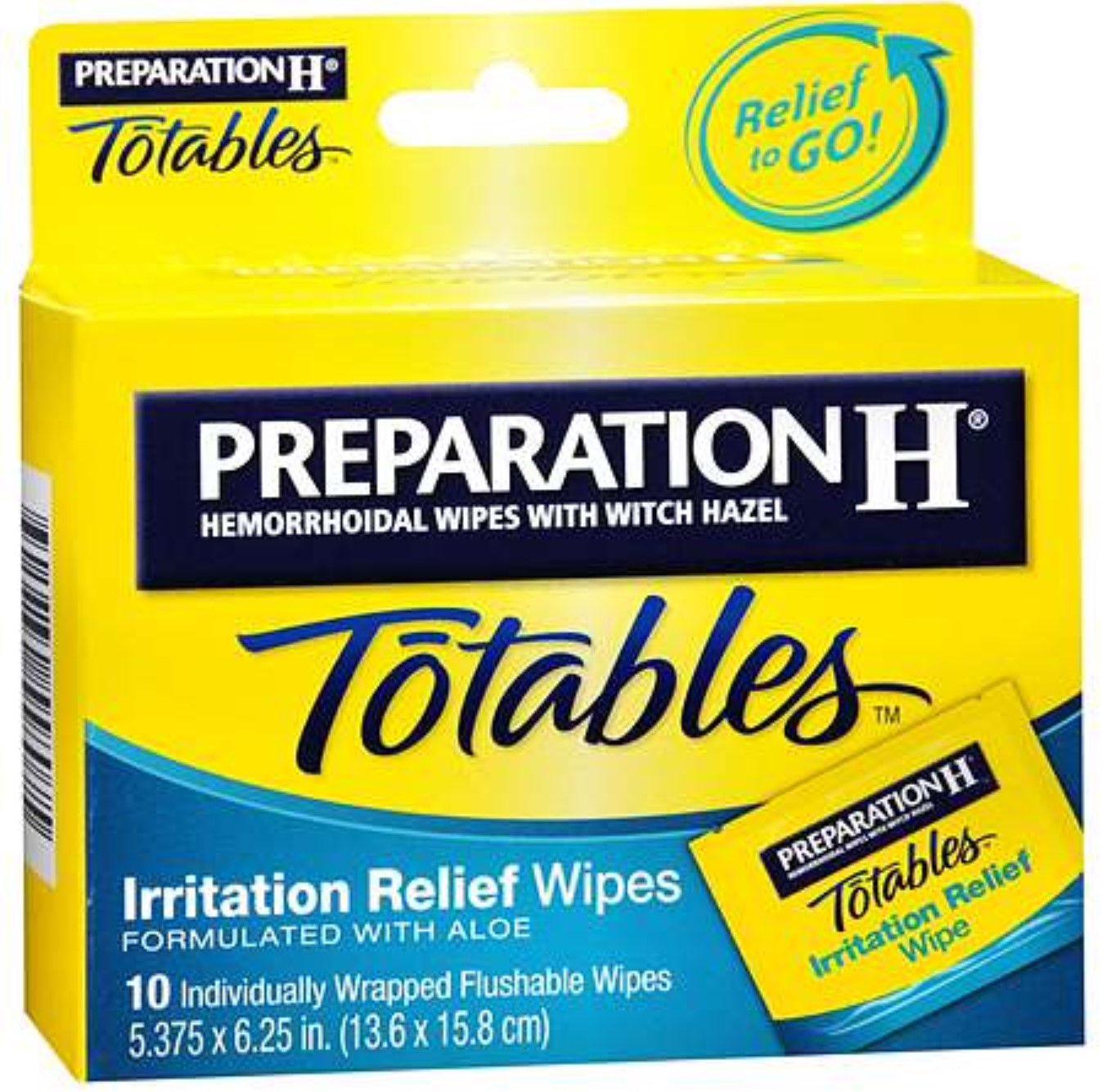Preparation H Totables Irritation Relief Wipes 10 Each (Pack of 2)