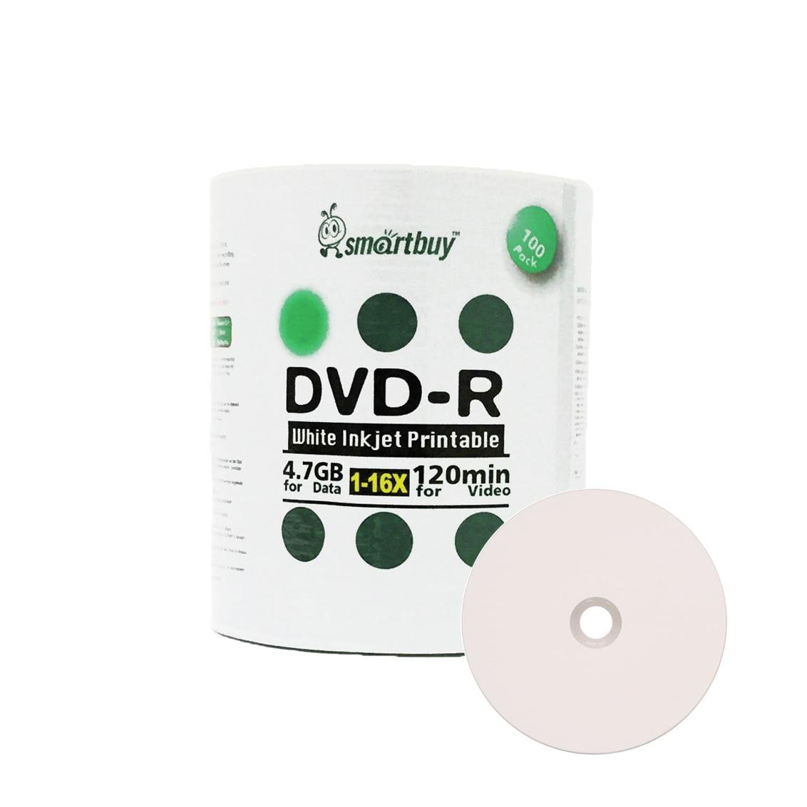 100 Pack Smartbuy 16X DVD-R 4.7GB 120Min White Inkjet Hub