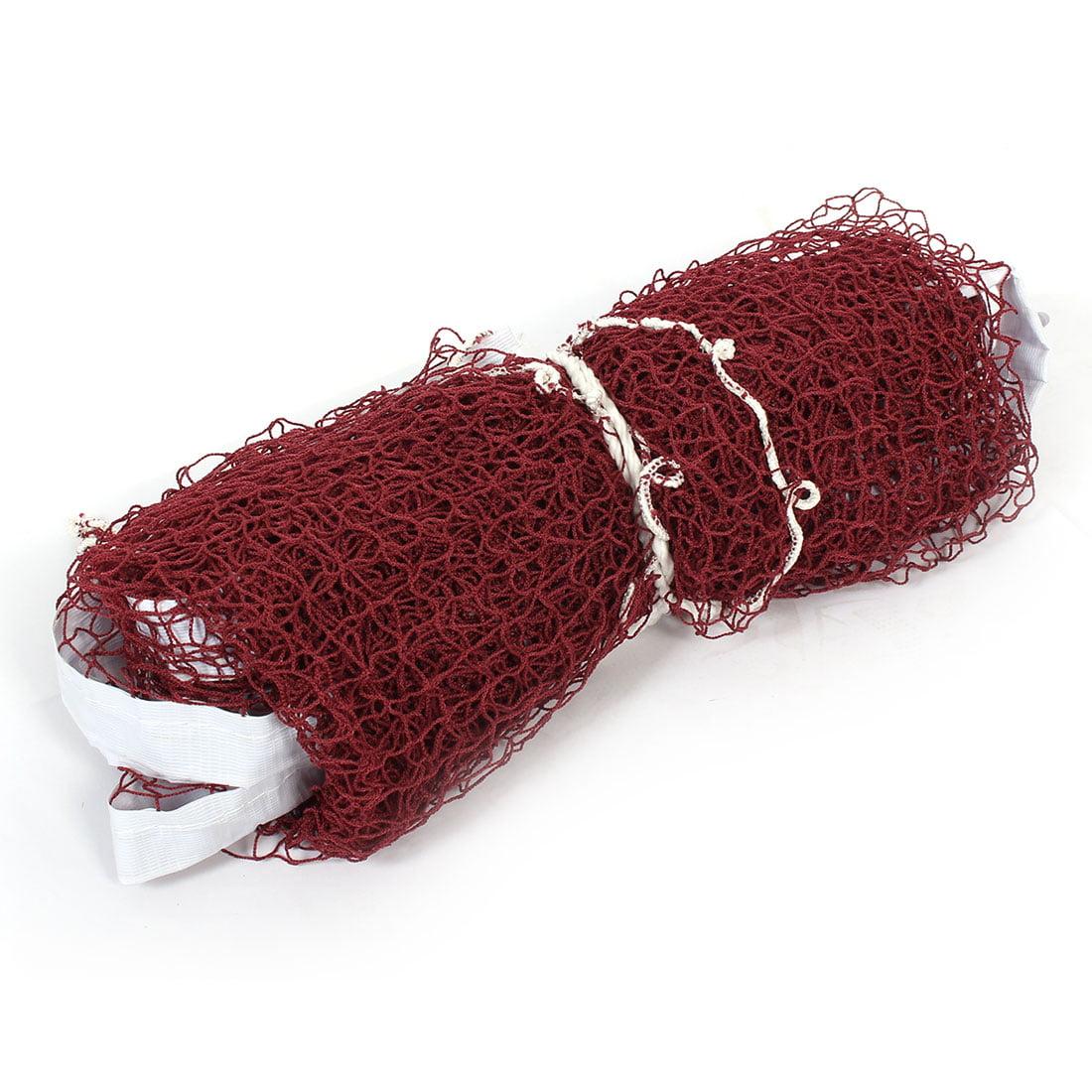6M Length Nylon Outdoor Indoor Badminton Sport Training Mesh Net Dark Red White