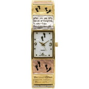 Women's Tri-Color Religious Bangle Watch