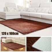 47x63 inch Soft Shaggy Fluffy Rugs Anti-Skid Area Rug Dining Room Carpet Home Bedroom Floor Mat(Black, Brown, Lake Blue, Grey, Cream)