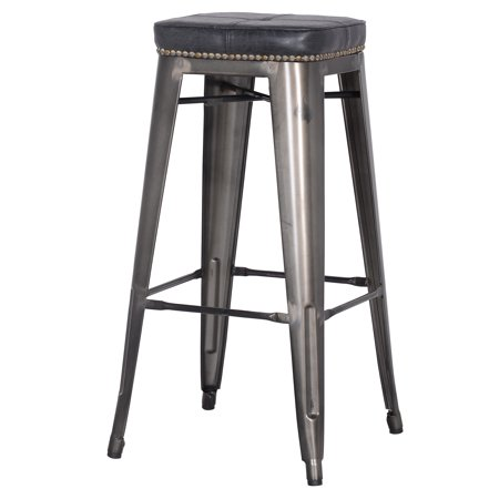 Astounding Metropolis Stackable Modern Metal Backless Counter Stool With Cushion And Nailhead Trim Set Of 4 Multiple Colors Cjindustries Chair Design For Home Cjindustriesco