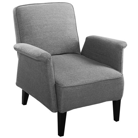 Costway Modern Upholstered Accent Occasional Chair Roll Arm Living Room  Wood Leg ()