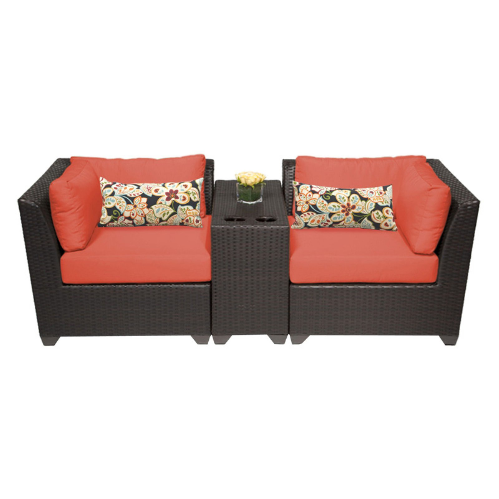 TK Classics Barbados Wicker 3 Piece Patio Conversation Set with Cup Table and 2 Sets of Cushion Covers