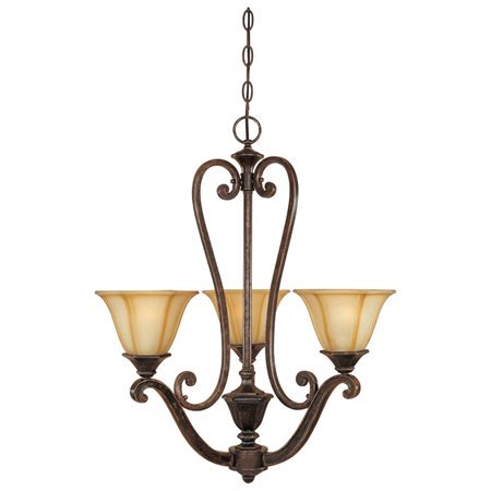 Designers Fountain 81183-IW Olympia 3 Light Chandelier with Topaz Mist Glass Shades in  Imperial Walnut Finish ()