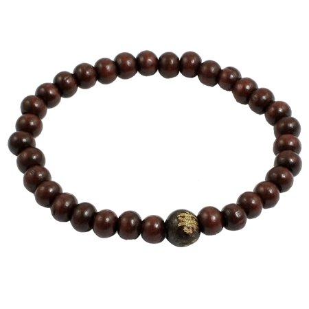 Elasticated Rounded Small Beads Burgundy Wrist Prayer Bracelet for Unisex