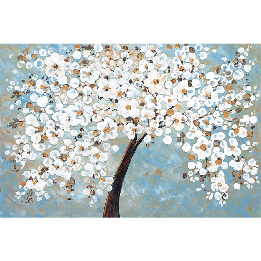 "Portfolio Canvas Decor ""White Cherry Blossom"" by Jolina Anthongy Framed and Stretched Ready-to-Hang Canvas Wall Art"