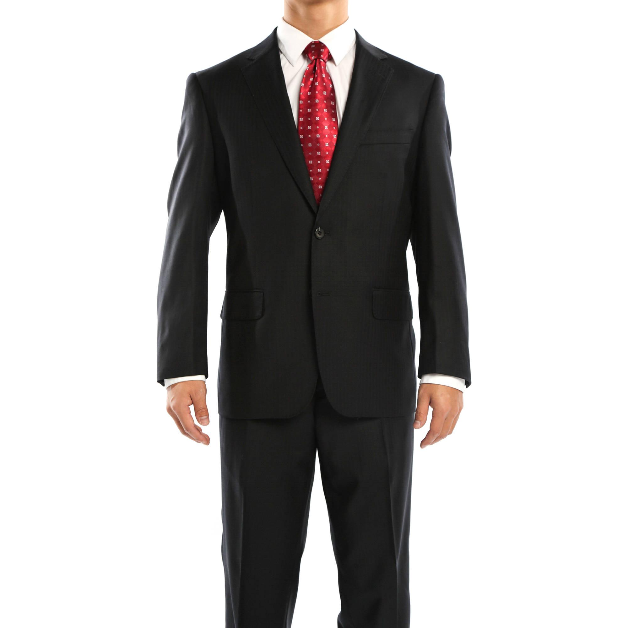 Revelino Big Men's Black Classic Fit Italian Styled Virgin Wool Suit