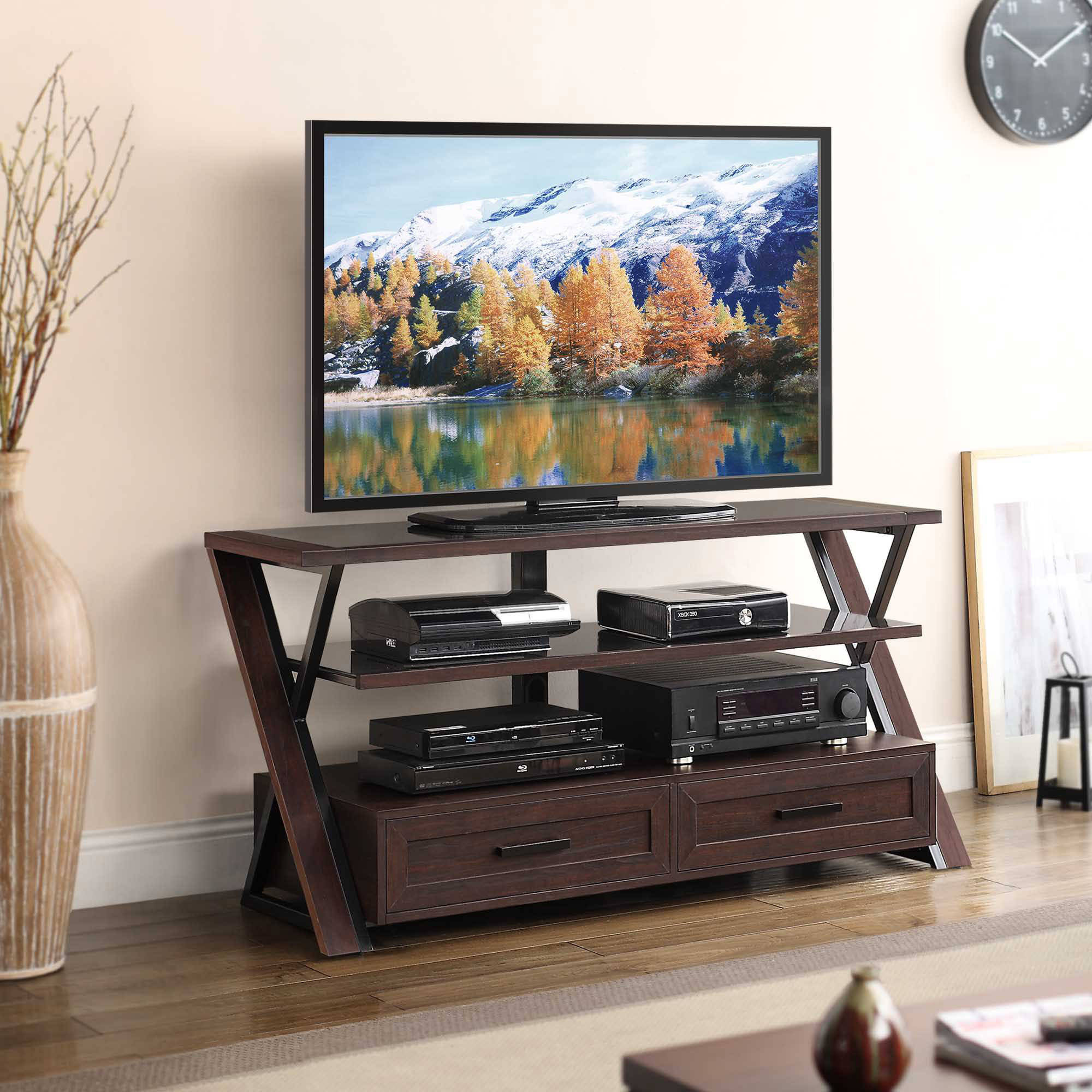 Stinson Brown Flat Panel TV Console for TVs up to 60""