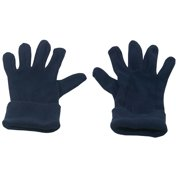 womens Navy Solid Color Fold Cuff Fleece Gloves