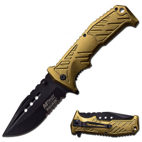 "MTech Spring Assisted Knife 4"" Blade w/Black Alum Handle"
