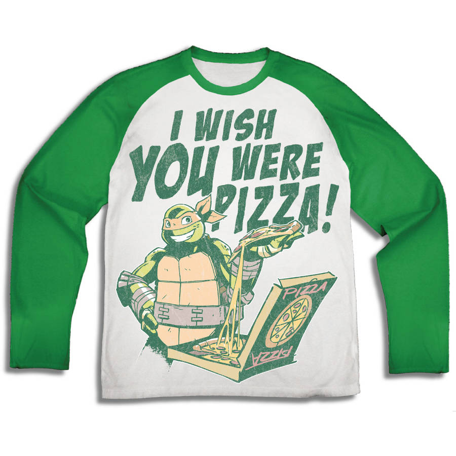 "TMNT ""I Wish You Were Pizza"" Boys' Long Sleeve Raglan Graphic Tee T-Shirt with Back Facing"