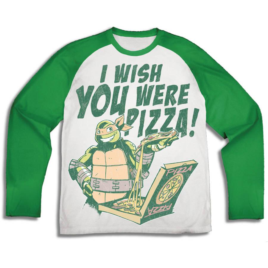 "TMNT ""I Wish You Were Pizza"" Boys' Long Sleeve Raglan Graphic Tee T-Shirt with Back Facing"