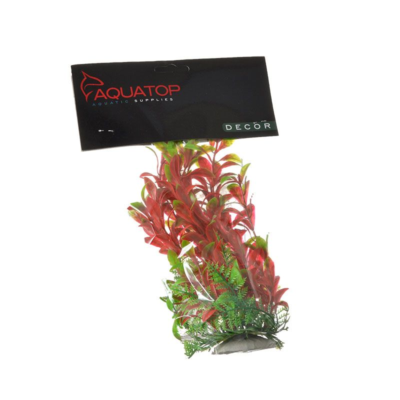 Aquatop Hygro Aquarium Plant - Red & Green 6 High w/ Weighted Base - Pack of 2
