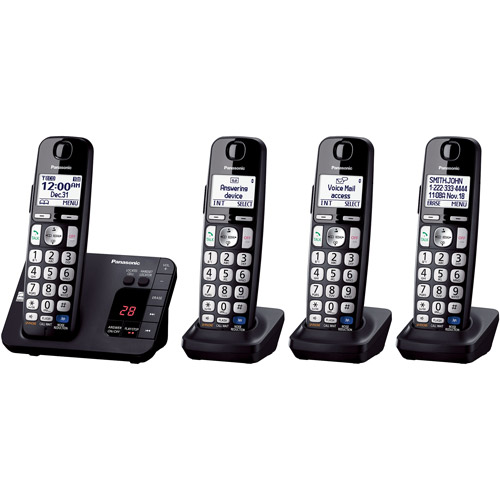 Panasonic KX-TGE234B Expandable Digital Cordless Answering System with 4 Handsets