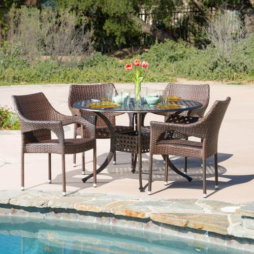Kinkaid Circular Outdoor Cast And Wicker 5-Piece Set