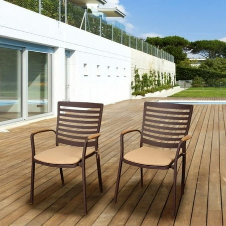 International Home Amazonia Teak 4 Piece Patio Dining Chair in Brown ()