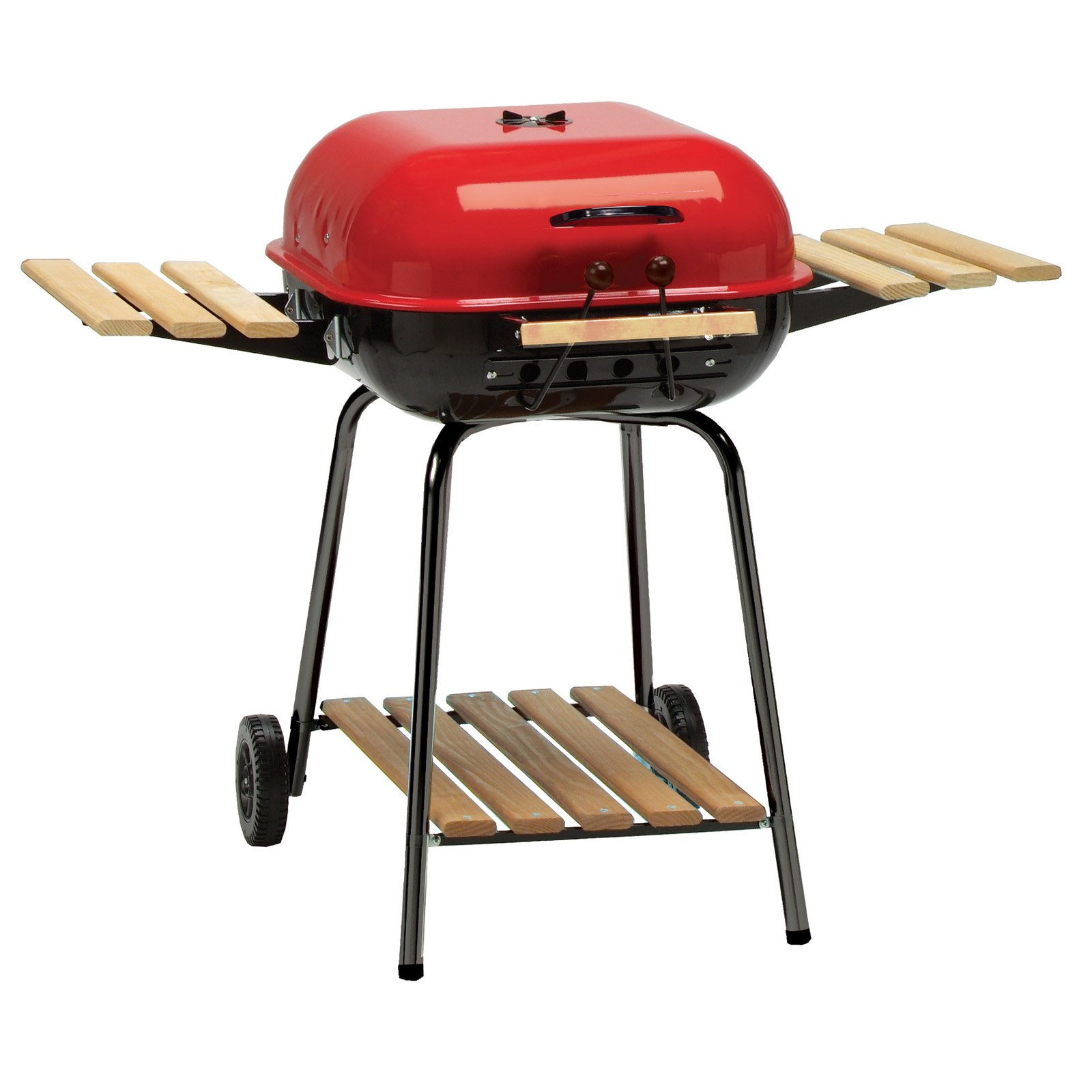 Meco Americana 21-inch, Charcoal BBQ Grill, with Adjustable Cooking Grate, Composite-Wood Folding Side Tables (2) and Lower Shelf, Red