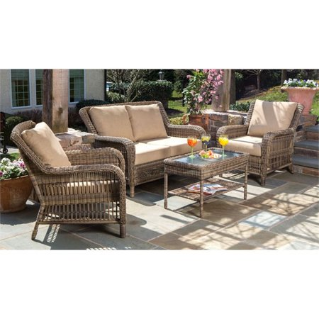 Image of Alfresco Home Cotswold 4 Piece Wicker Deep Seating Patio Sofa Set