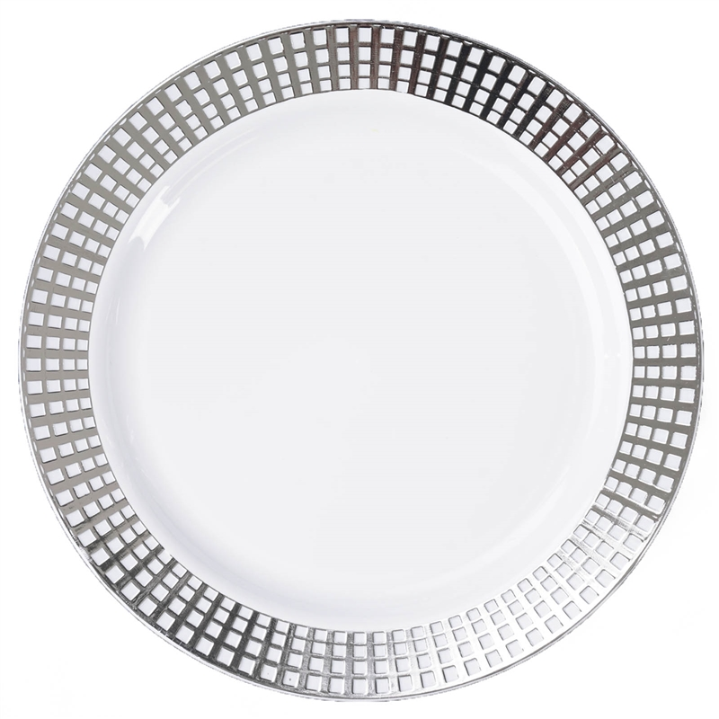 """BalsaCircle 10 pcs 9"""" Disposable Plastic Round Plates for Wedding Reception Party Buffet Catering Tableware"""