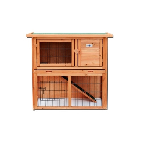 Confidence Pet 36� 2 Tier Rabbit Hutch Bunny Guinea Pig Cage Pen Built In Run by