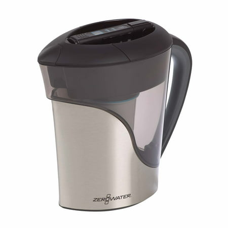 Zerowater 11-cup Ready-Pour Stainless Steel Pitcher with Free Water Quality Meter (ZS-011RP)